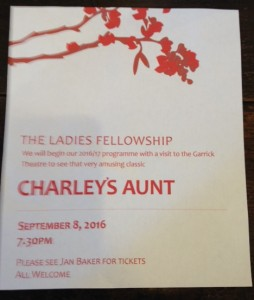 The Ladies Fellowship – Charley's Aunt – 8th September